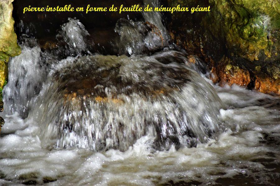 17 chute d'eau sur pierre instable en forme de feuille de nénuphar géant